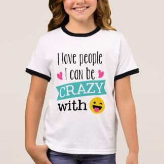 Love Crazy People Emoji Ringer T-Shirt