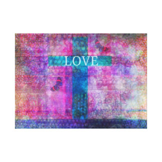 LOVE CROSS WITH BUTTERFLIES NATURE ART GALLERY WRAPPED CANVAS