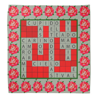 Love Crossword in Spanish on Bandana