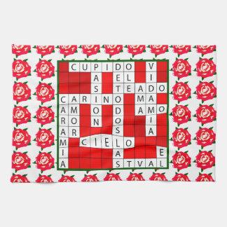 Love Crossword in Spanish on Kitchen Towel