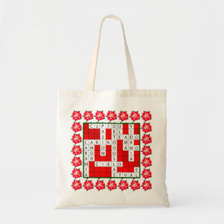 Love Crossword in Spanish on Tote Bag