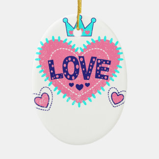 Love crown and hearts ceramic oval decoration