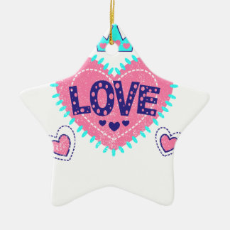 Love crown and hearts ceramic star decoration