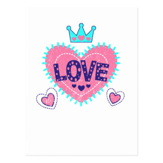 Love crown and hearts postcard