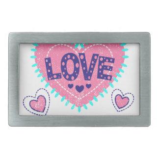 Love crown and hearts rectangular belt buckles