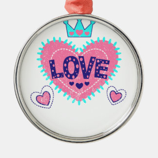 Love crown and hearts Silver-Colored round decoration