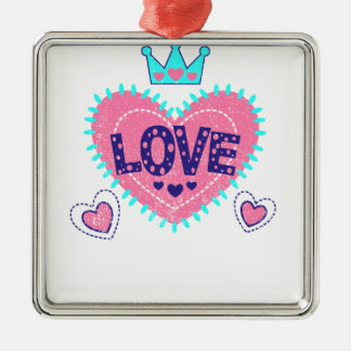 Love crown and hearts Silver-Colored square decoration