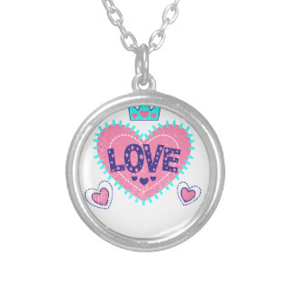 Love crown and hearts silver plated necklace
