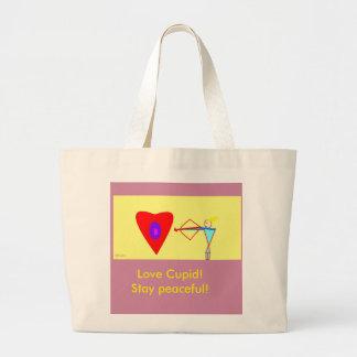 Love Cupid! Stay Peaceful! Jumbo Tote Bag