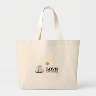 love cures all things large tote bag