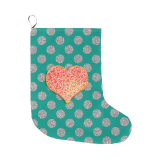 LOVE - Custom Background Color- custom Christmas Large Christmas Stocking