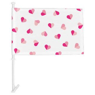 Love Cute Pink Heart Pattern Car Flag