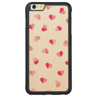 Love Cute Pink Heart Pattern Carved® Maple iPhone 6 Plus Bumper Case
