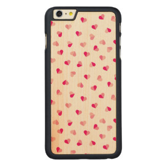 Love Cute Pink Heart Pattern Carved® Maple iPhone 6 Plus Case