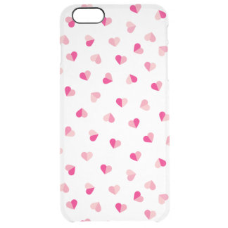 Love Cute Pink Heart Pattern Clear iPhone 6 Plus Case