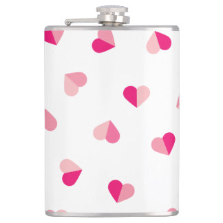 Love Cute Pink Heart Pattern Hip Flask