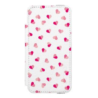 Love Cute Pink Heart Pattern Incipio Watson™ iPhone 5 Wallet Case