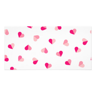 Love Cute Pink Heart Pattern Personalised Photo Card