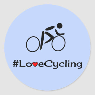 Love cycling caption blue classic round sticker
