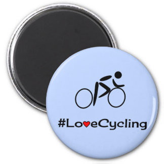 Love cycling caption blue magnet