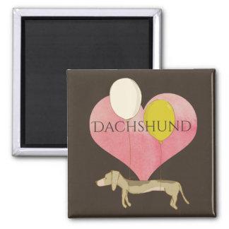 Love Dachshund Pink Heart Magnet