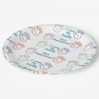 Love Daddy - Hands 9 Inch Paper Plate