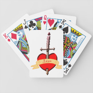 love dagger pierced heart bicycle playing cards
