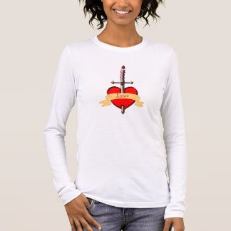 love dagger pierced heart long sleeve T-Shirt