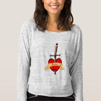 love dagger pierced heart T-Shirt