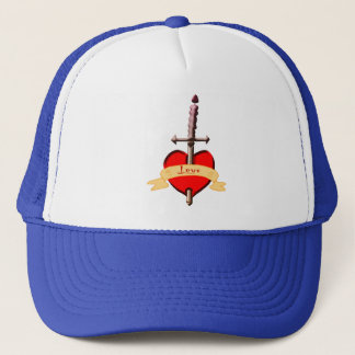 love dagger pierced heart trucker hat