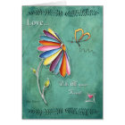 Love Daisy Floral Heart Butterfly Greeting Card