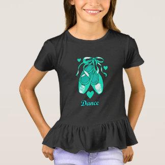 Love Dance Teal Ballet Shoes Girls' Ruffle T-Shirt