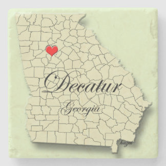 Love Decatur, Georgia, Heart Map Coasters