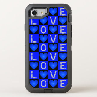 LOVE Diamonds, Checkered Blue Glowing Hearts, OtterBox Defender iPhone 7 Case