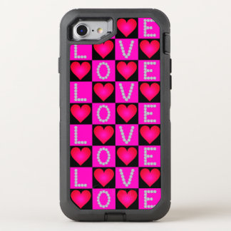 LOVE Diamonds, Checkered Pink Glowing Hearts, OtterBox Defender iPhone 7 Case