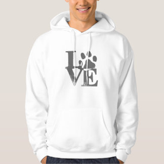 LOVE Dog Bold Lettering Paw Print Hoodie