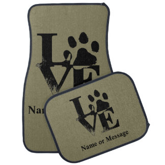 Love Dog Paw Custom Name or Message Car Mat