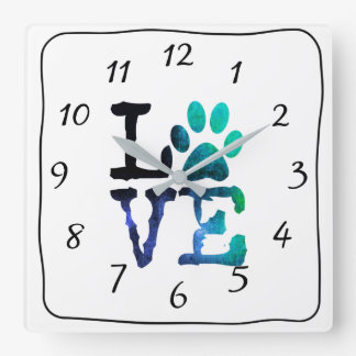 LOVE Dog Paw Print Blue Clock