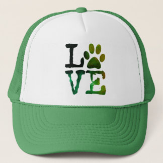Love, Dog Paw Print Green Hat