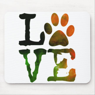 Love, Dog Paw Print Mouse Pad