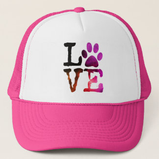 Love, Dog Paw Print Pink Hat