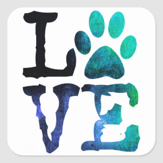 Love, Dog Paw Print Sticker