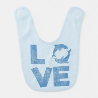 LOVE Dolphins T-Shirt Vintage distressed Bib