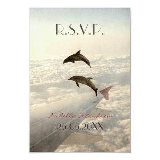 Love Dolphins - wedding RSVP 9 Cm X 13 Cm Invitation Card