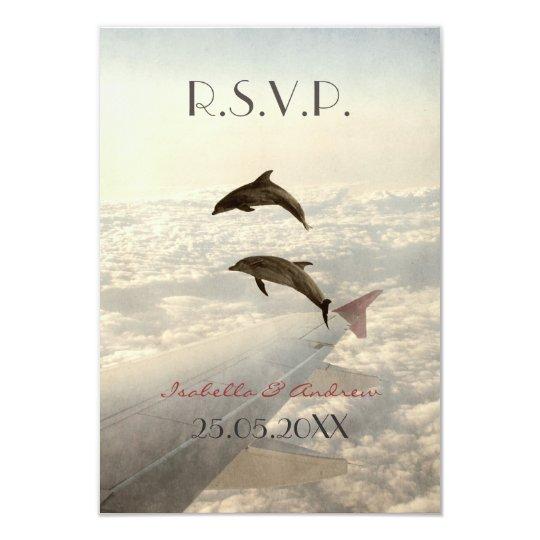 Love Dolphins - wedding RSVP Card