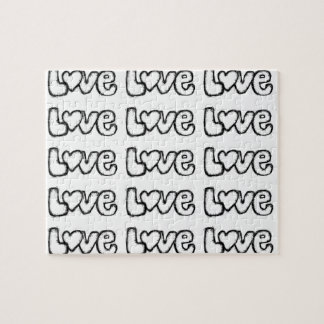 love doodle black white simple modern jigsaw puzzle