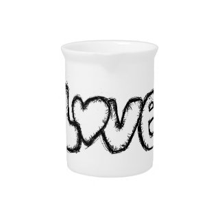 love doodle black white simple modern pitcher