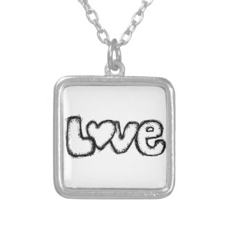 love doodle black white simple modern silver plated necklace