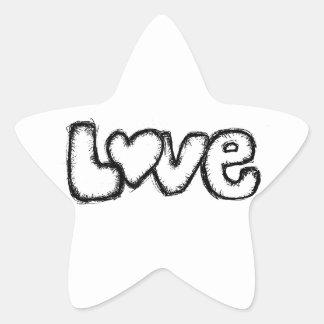 love doodle black white simple modern star sticker