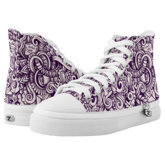 Love Doodle Design Printed Shoes